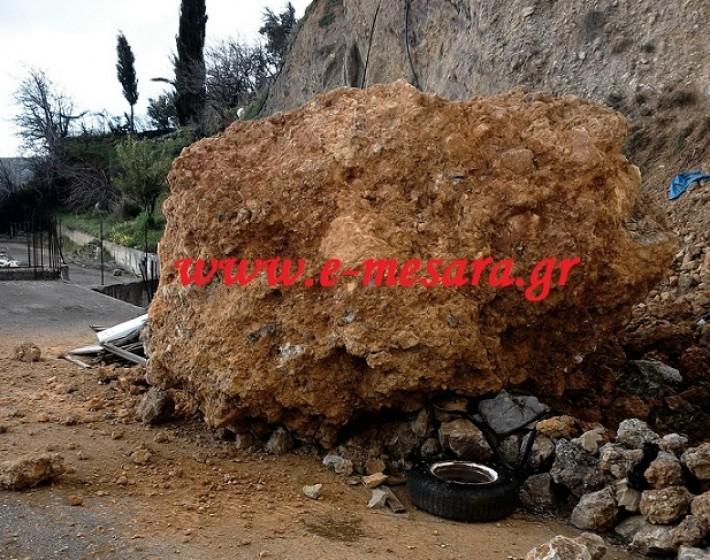 Βράχος 15 τόνων προσγειώθηκε σε ταράτσα σπιτιού στη Γέργερη