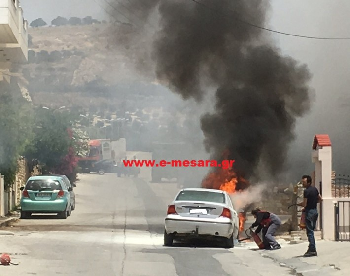 Κρήτη: Άρπαξε φωτιά αυτοκίνητο  με υγραέριο