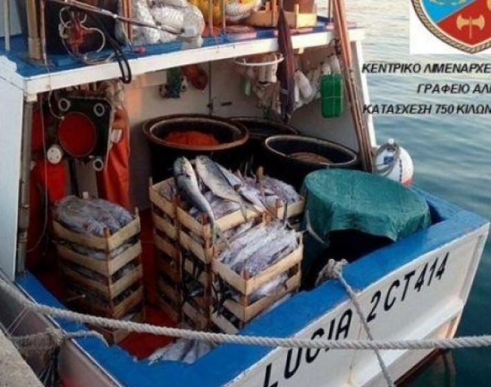 Ηράκλειο: Παράνομη ψαριά 750 κιλών